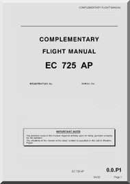 Eurocopter EC 725 Helicopter  Complementary Flight  Manual AP  ( English Language )