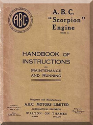 "A.B.C. "" Scorpion "" Aircraft Engine Handbook  Instruction Maintenance and Running  Manual  ( English Language )"