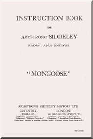 Armstrong Siddeley Mongoose Engine Instruction Book Manual  ( English Language )