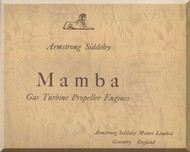Armstrong Siddeley  Mamba  Aircraft Engine Tecnical Brochure  Manual  ( English Language )