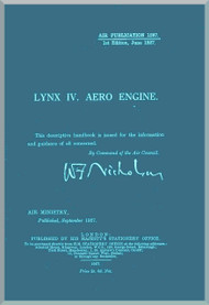 Armstrong Siddeley Lynx IV Aircraft Engine Maintenance Manual  ( English Language )