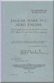 Armstrong Siddeley Jaguar Mk IV C Aircraft Engine Maintenance Manual Instruction Book  ( English Language )  AP 1139 , April 1930