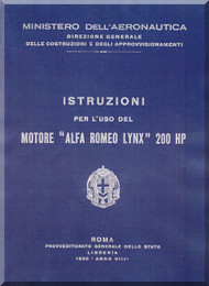 Alfa Romeo Lynx Aircraft Engine Instruction Manual  ( Italian Language )