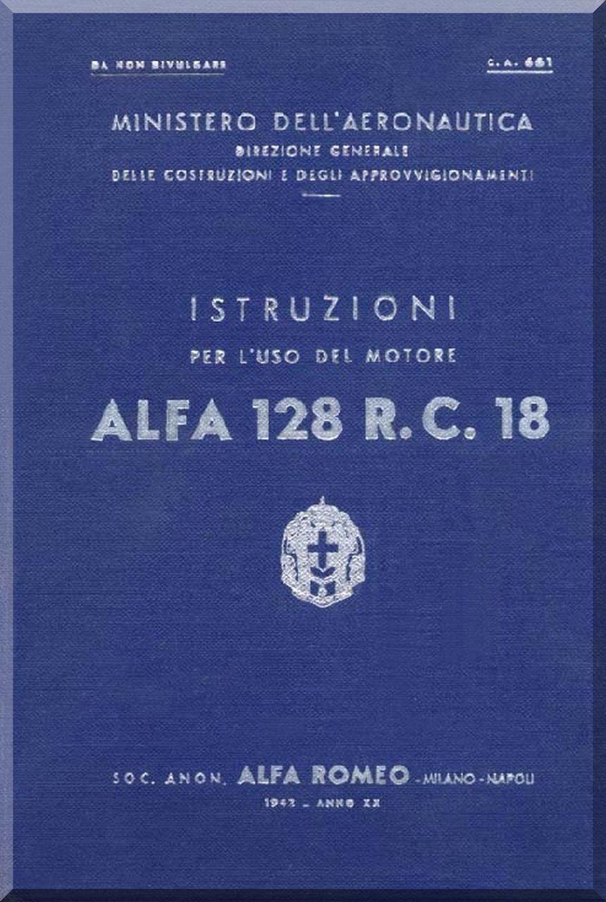 Alfa Romeo 128 R  C  18 Aircraft Engine Instruction Manual ( Italian  Language )