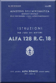 Alfa Romeo 128 R. C. 18 Aircraft Engine Instruction Manual  ( Italian Language )