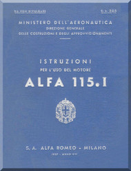 Alfa Romeo 115.I Aircraft Engine Instruction Manual - 1937