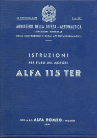 Alfa Romeo 115 TER  Aircraft Engine Instruction Manual  ( Italian Language )