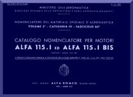 Alfa Romeo 115.I Aircraft Engine Illustrated Parts Catalog  Manual  ( Italian Language )
