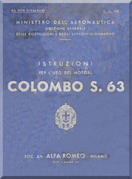 Colombo S.63 Aircraft Engine Operating  Manual - Istruzioni per L'uso  ( Italian Language ) - C. A. 142