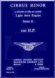 Cirrus Minor 100 h.p. Aircraft Engine Service Manual  ( English Language )