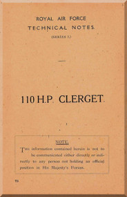 Clerget Blin 110 Hp.   Aircraft Engine Technical Manual   ( English Language )