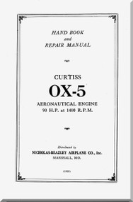 Curtiss Model OX-5   Aircraft Aero Engine Handbook Manual  ( English Language )