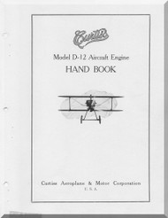 Curtiss Model D-12  Aircraft Engine Handbook Manual  ( English Language )