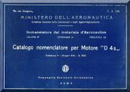 Compagnia Nazionale Aeronautica D4S Series  Part Catalog  ( Nomenclatore )  ( Italian Language ), 1941