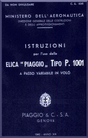 Piaggio P.1001 Aircraft Propeller Instruction Manual - Elica -