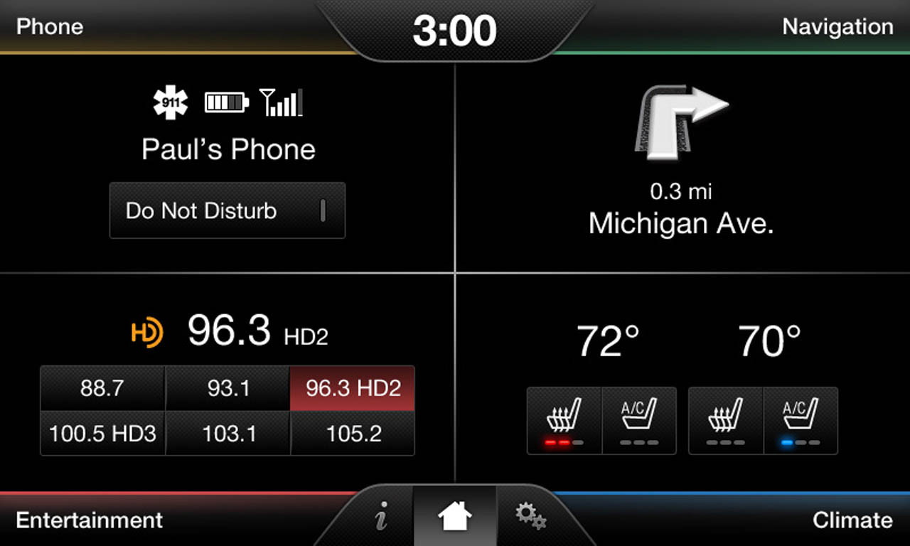 2015 Lincoln MKC Navigation Kit for MyFord Touch Systems - Home Screen
