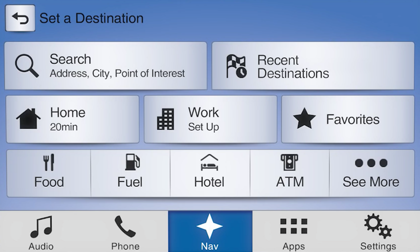 2017 Ford Transit Navigation Kit for SYNC 3 - Destination Screen