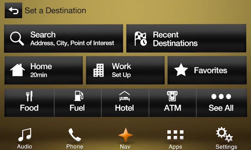 2017 Lincoln MKT Navigation Kit for SYNC 3 - Destination Screen