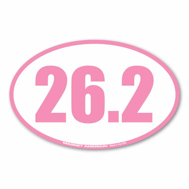 Celebrate your marathon accomplishments with this pink 26.2 oval magnet! History tells us that the 26.2 was requested by Queen Alexandra. The first marathon started with 25 miles but she wanted the race to end at her royal box which ended up making the race 26.2.