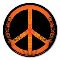 The current peace symbol was made in 1958 in Britain by Gerald Holtom as a sign for Nuclear Disarmament.  As time has evolved, this symbol as became known worldwide for international peace.  This peace magnet shows your desire for peace, not war.