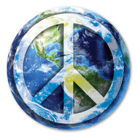 Peace Sign On Earth Magnet