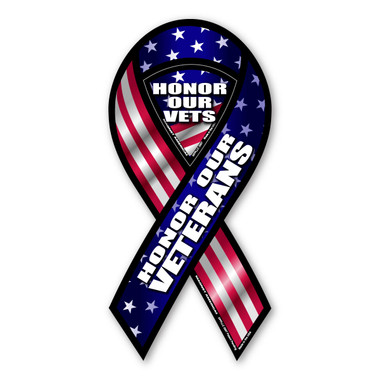 Honor those who faithfully served in our country's armed forces. Without the veterans and current military serving to defend our country, our freedom would be non-existent. Our American Flag themed Honor Our Veterans Ribbon Magnet is a great way to show your support for our veterans.