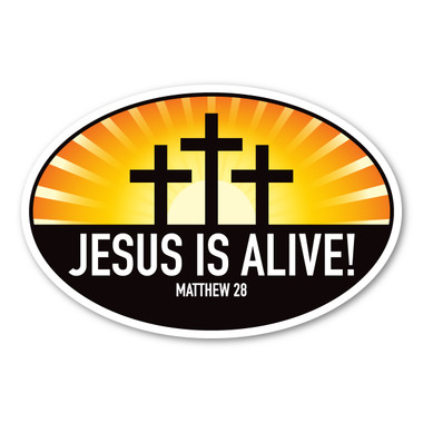 Celebrate Easter with this oval magnet! Jesus is alive!