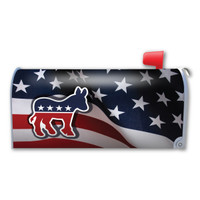 American Flag with Democratic Donkey Mailbox Cover Magnet