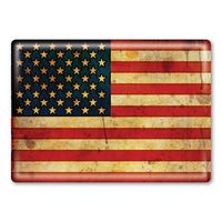American Flag Grunge Rectangle Button