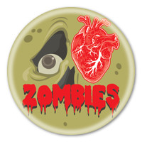 I Love Zombies (green) Circle Button