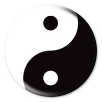 Yin and Yang Sign Circle Button