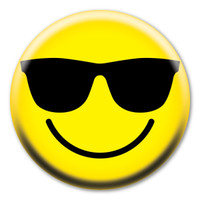 Smiley Face with Shades Circle Button