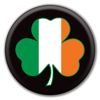 Shamrock Irish Flag Circle Button