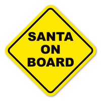 Santa on Board Yellow Diamond Magnet