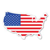 United States Shaped American Flag Mini Magnet