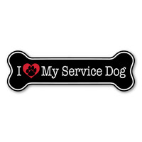 I Love My Service Dog Bone Magnet