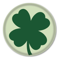 Green Four Leaf Clover Circle Button
