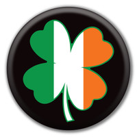 Irish Flag Four Leaf Clover Circle Button