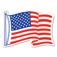 American Flag Waving Mini Decal
