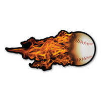 Flaming Baseball Magnet