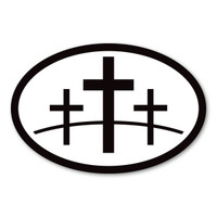 3 Crosses Oval Sticker