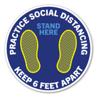 "Practice Social Distancing Blue 8"" Circle Floor Decal"