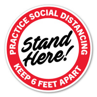 "Practice Social Distancing Red 8"" Circle Floor Decal"