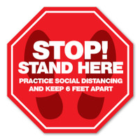 "Stop! Stand Here 8"" Octagon Floor Decal"