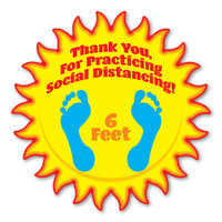 "Thank You For Practicing Social Distancing 8"" Sun Floor Decal"