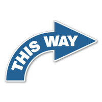 One Way Right Facing Curved Arrow Floor Decal