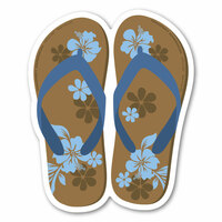 Brown and Blue Flip Flop Decal