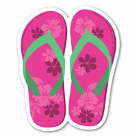 Pink and Green Flip Flop Decal