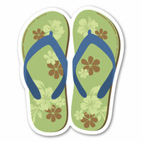 Green and Blue Flip Flop Decal
