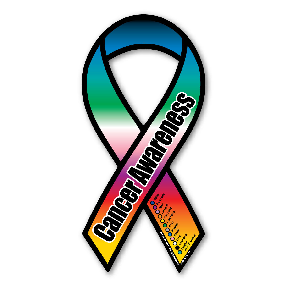 Cancer Awareness Rainbow Ribbon Magnet Magnet America